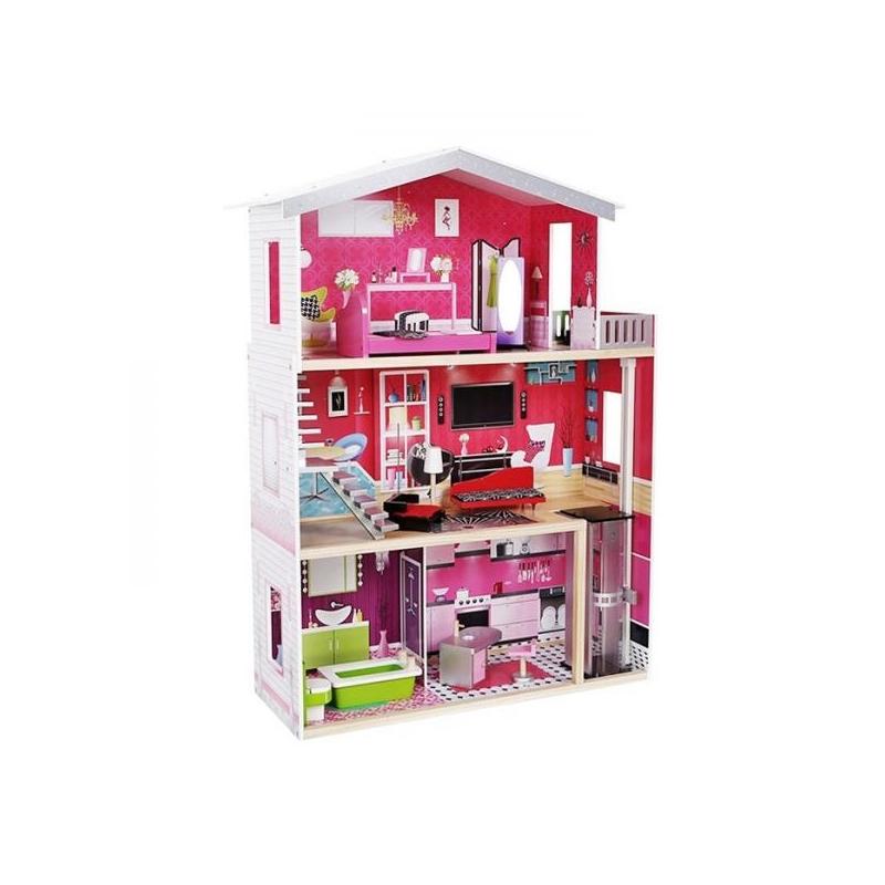 Деревянный кукольный домик большой с мебелью