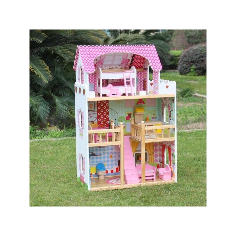 Деревянный кукольный домик с мебелью