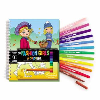 """Värvimisraamat viltpliiatsitega(12tk.) """"Moodsad tüdrukud"""""""
