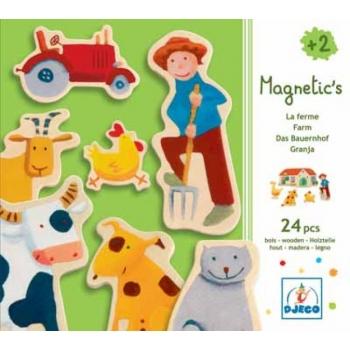 Wooden magnetics - Farm, 24 pcs