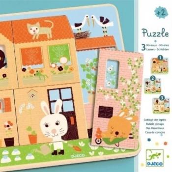 3 Layers puzzle - Rabbit cottage