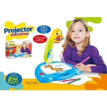 Детский проектор для рисования Утка 3 в 1 Настольная лампа, проектор, рисование