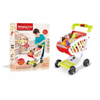Игрушечная тележка для супермаркета с набором продуктов