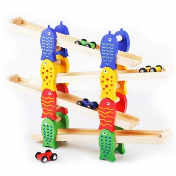 Wooden toy car ramp racer
