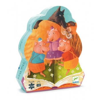 Silhouette puzzle - The 3 little pigs - 24 pcs