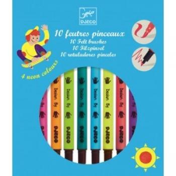 The colours - 10 felt brushes - Pop colours