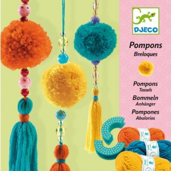 Girls delight - Wool - 3 beads pompons