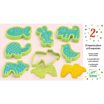 3 to 6 years - Modelling - 6 cookie cutters and 6 stamps pet animals