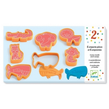 3 to 6 years - Modelling - 6 cookie cutters and 6 stamps wild animals