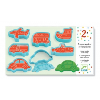 3 to 6 years - Modelling - 6 cookie cutters and 6 stamps vehicles