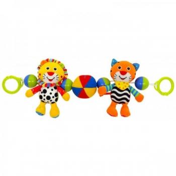 """Plush Pram Set """"Tiger and Lion"""""""