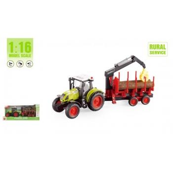 Laste traktor metsandustreileriga häälte ja tuledega, 42cm