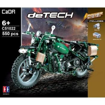 """Ehitusklotside komplekt CADA TECHNIC """"Sõjaväe mootorattas"""" mootoriga, 550 osa"""