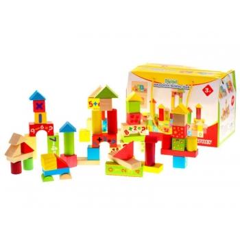 Большие деревянные кубики, цветные, 58 деталей