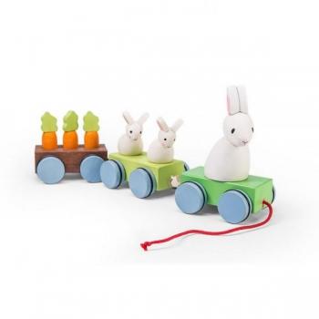 Деревянная каталка-поезд Зайчата с морковкой