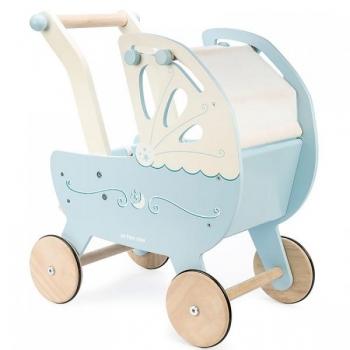 Деревянная коляска для кукол (синяя)