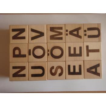 Деревянные кубики 15шт-эстонские буквы