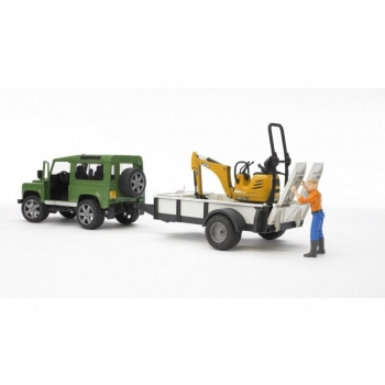 Bruder Professional Series Land Rover Defender with Trailer - CAT and Man - 02593