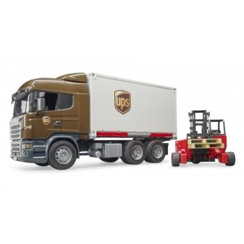 Bruder (03581) Игрушечный фургон транспортной службы UPS Scania с погрузчиком в масштабе (1:16)