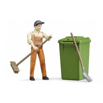 Bruder (62140) Фигурка уборщика улиц с метлой, лопатой и контейнером