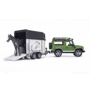 Игрушечный джип Land Rover Defender с прицепом для перевозки лошадей Bruder 02592