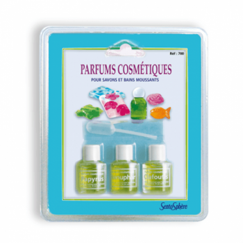 Blister pack of 3 perfumes for cosmetics