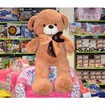 Большой плюшевый медведь с бантом LOVE 120см