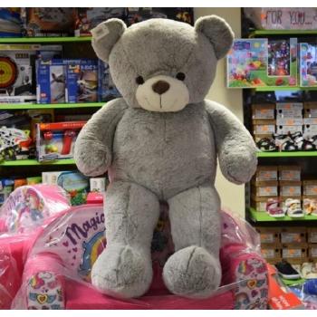 Большой плюшевый медведь серый 110см