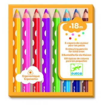8 цветных карандашей для малышей