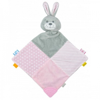 Plush toy with teethers - Pink Rabbit
