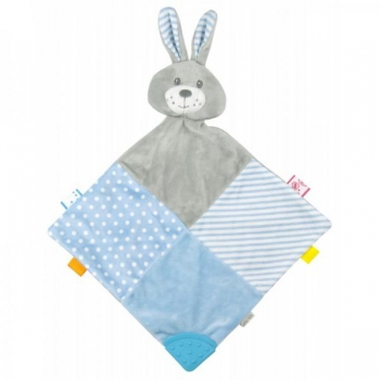 Plush toy with teethers - Blue Rabbit