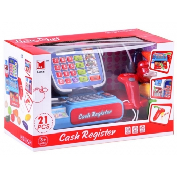 Cash register with weight, card reader + vegetables