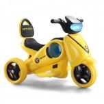 3-Rattaline elektrimootorratas väikelastele.Punane ja kollane.