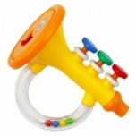 Plastic rattle-trumpet with whistle