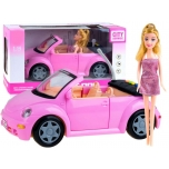 Pink car with doll (light/sound), 33 cm