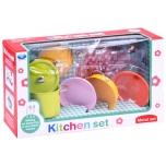 Набор цветной, жестяной детской посуды,12 предметов