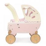 Деревянная коляска для кукол (розовая)