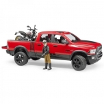 Bruder #02502 RAM Power Wagon with Scrambler Ducati Desert Sled and Figure