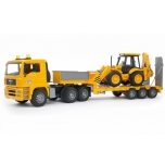 BRUDER Man TGA Low Loader Truck W JCB 4cx Backhoe 02776