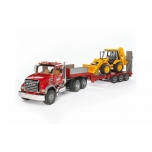 Bruder Toys MACK Granite Flatbed Truck w/ JCB Backhoe Loader #02813