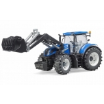 Bruder Toys 03121 New Holland T7 315 Blue Tractor Frontloader 1:16 Scale Model