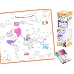 Coloring book washable MAP OF THE WORLD + markers