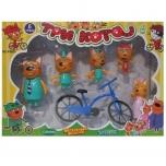 """Игровой набор """"Три Кота""""-Счастливая семья, 5 фигурок+велосипед"""