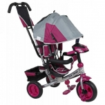 Tricycle Lux Trike  with functional desk Grey-Pink