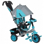 Tricycle Lux Trike with functional desk Grey-Blue