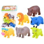 Rubber safari animals to play with 6 pcs