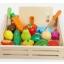 Puidust puuviljad ja köögiviljad magnetiga ja puidust alusega